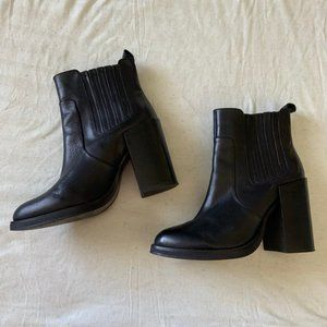 New Look black leather block heel ankle boots